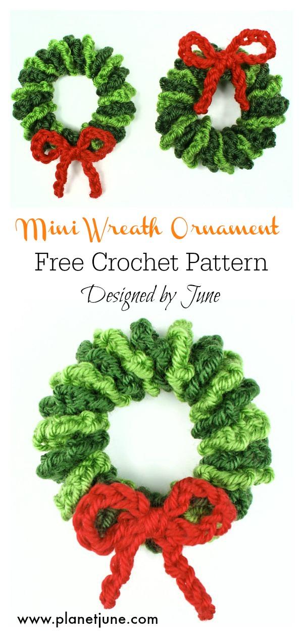 Mini Wreath Ornament Free Crochet Pattern