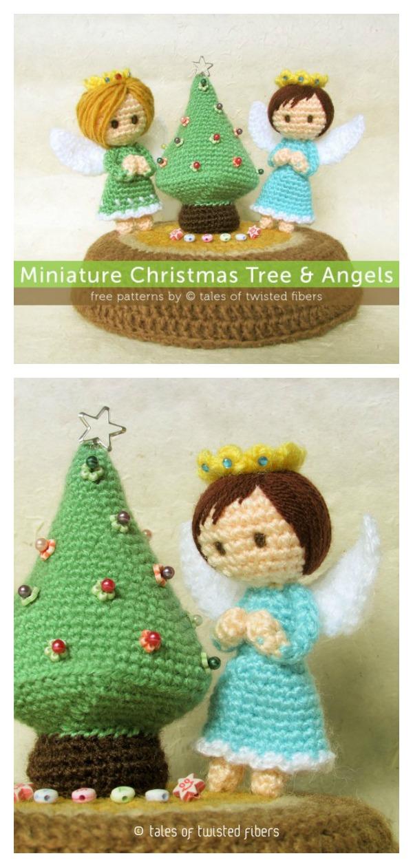 Miniature Christmas Tree & Angels Doll Free Crochet Pattern