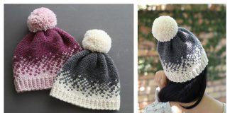 Ombré Fair Isle Beanie Free Crochet Pattern