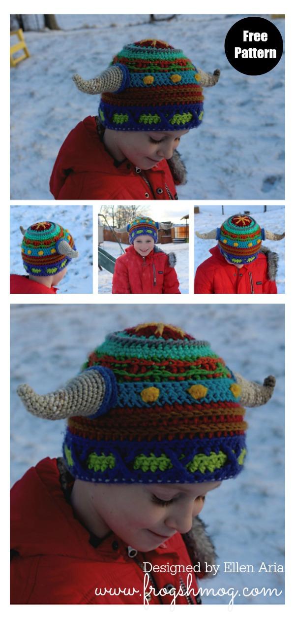 Scrap Stripe Viking Horn Hat Free Crochet Pattern