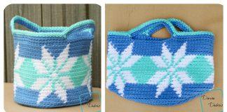 Snowflakes Basket Free Crochet Pattern