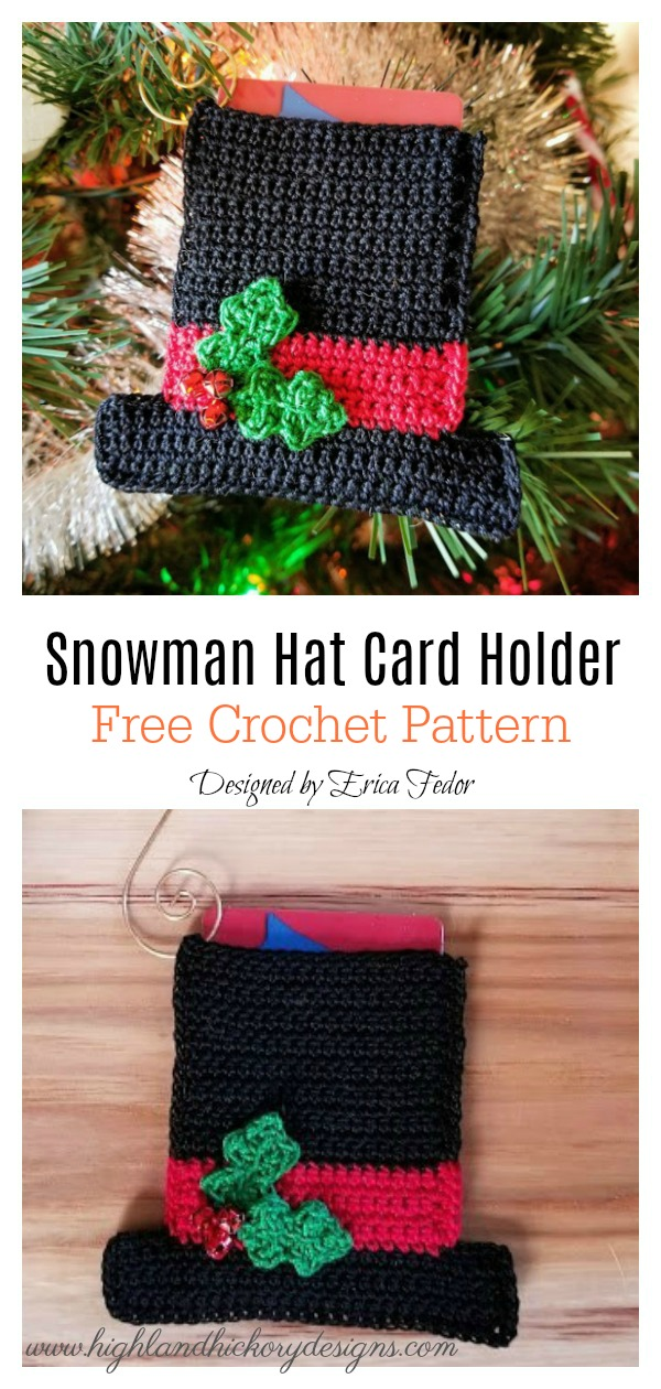 Snowman Hat Ornament or Gift Card Holder Free Crochet Pattern