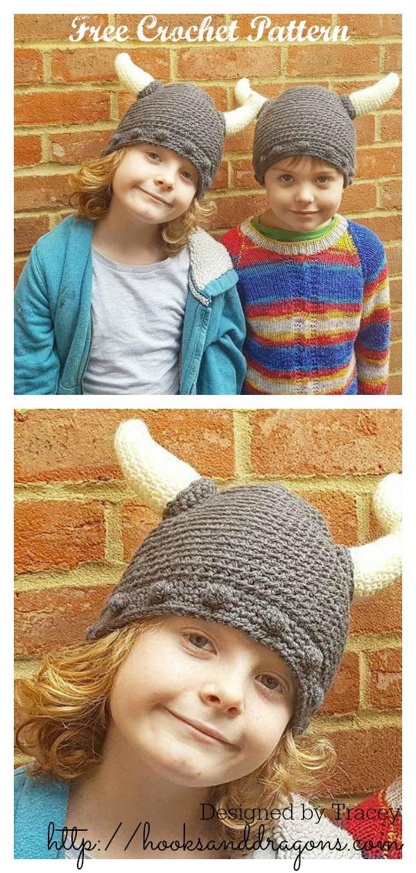 Viking Horn Hat Free Crochet Pattern