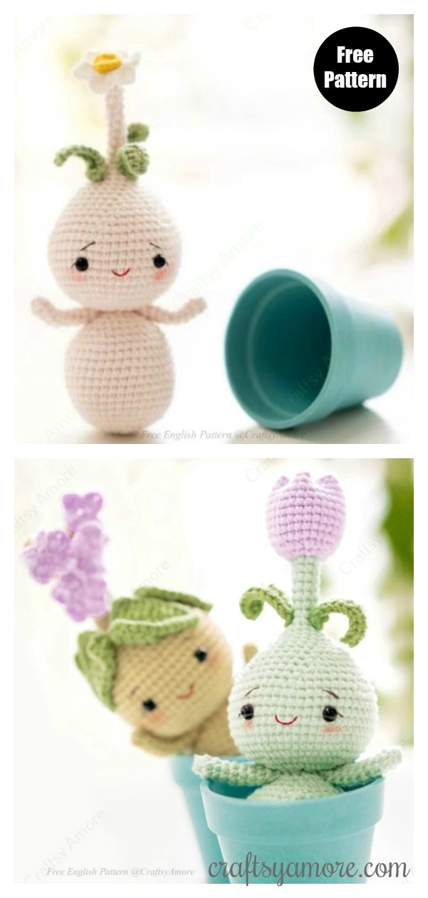 Crochet 3D Potted Sunflower Amigurumi Free Crochet Patterns ... | 1260x600