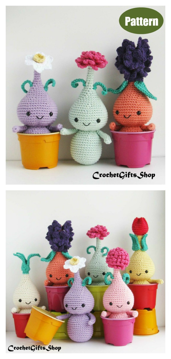 Amigurumi Flower Bulb Doll Set Crochet Pattern