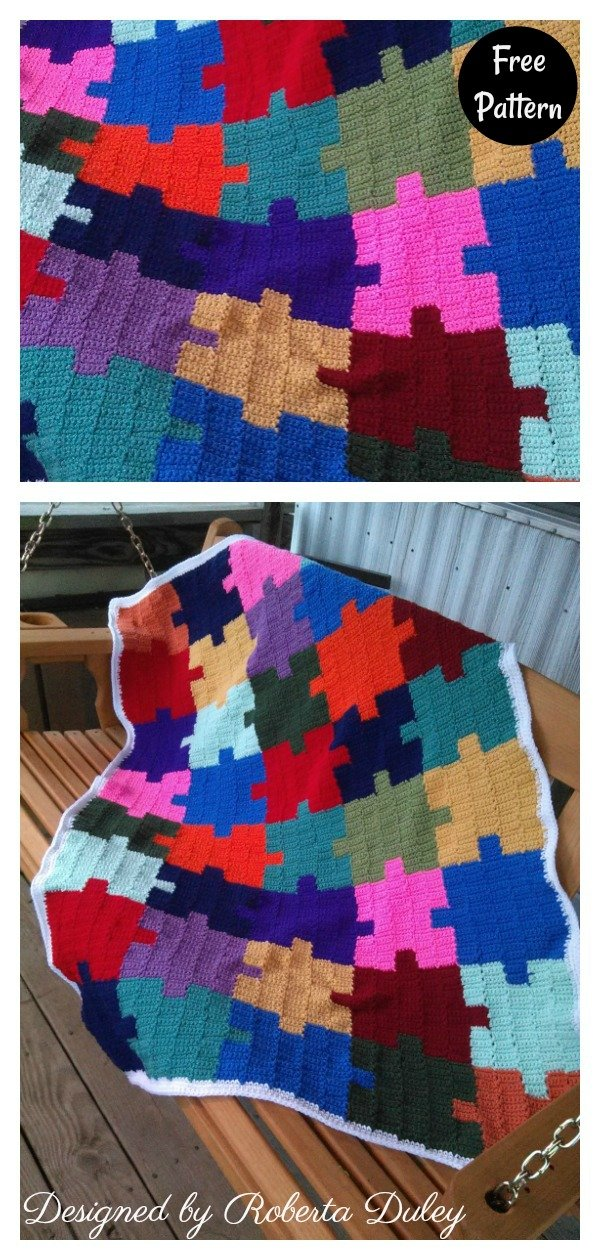 Autism Awareness Jigsaw Puzzle Afghan Free Crochet Pattern
