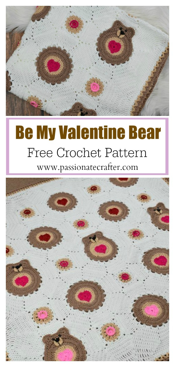 Baby Blanket with Hearts and Bears Free Crochet Pattern