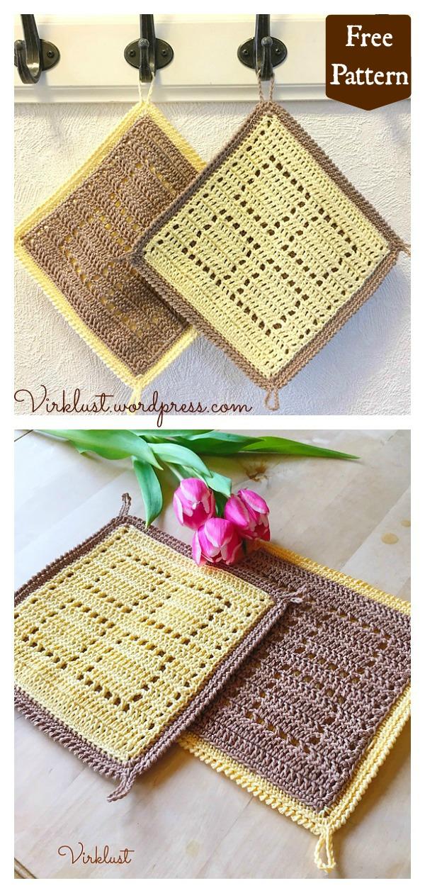 Easy Double Sided Potholder Free Crochet Pattern