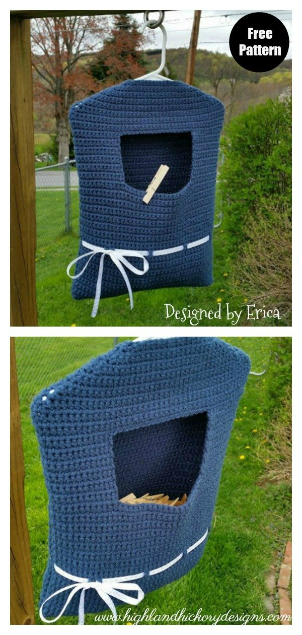 Blue Ribbon Clothespin Peg Bag Free Crochet Pattern