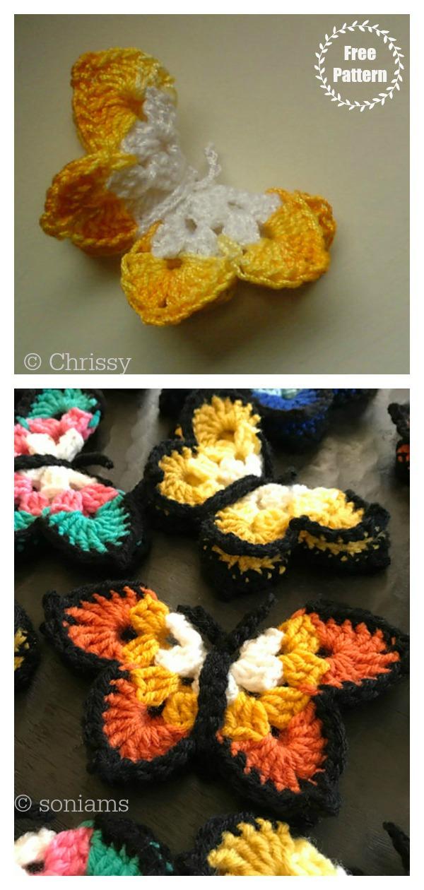 Butterfly Brooch Free Crochet Pattern