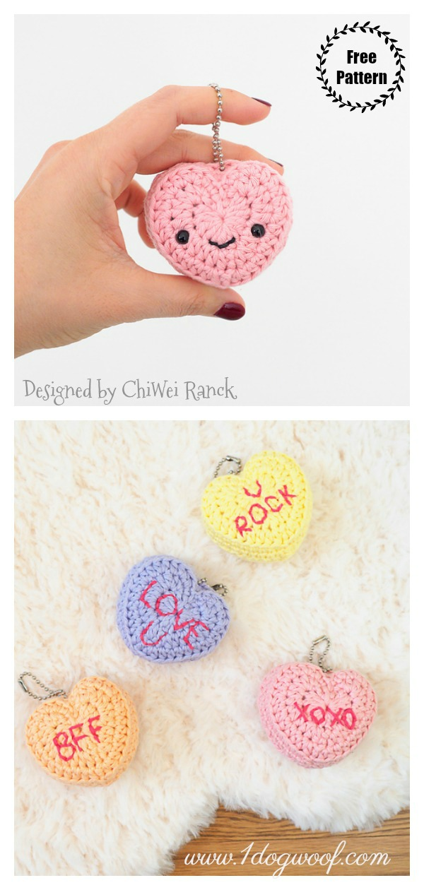 Candy Conversation Hearts Keychain Free Crochet Pattern and Video Tutorial