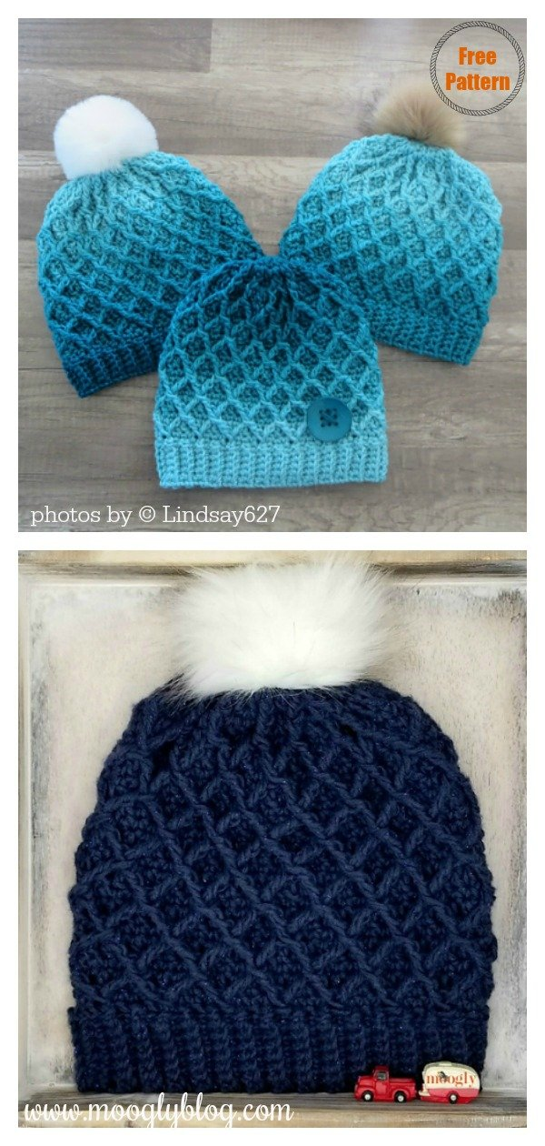 Diamond Beanie Hat Free Crochet Pattern