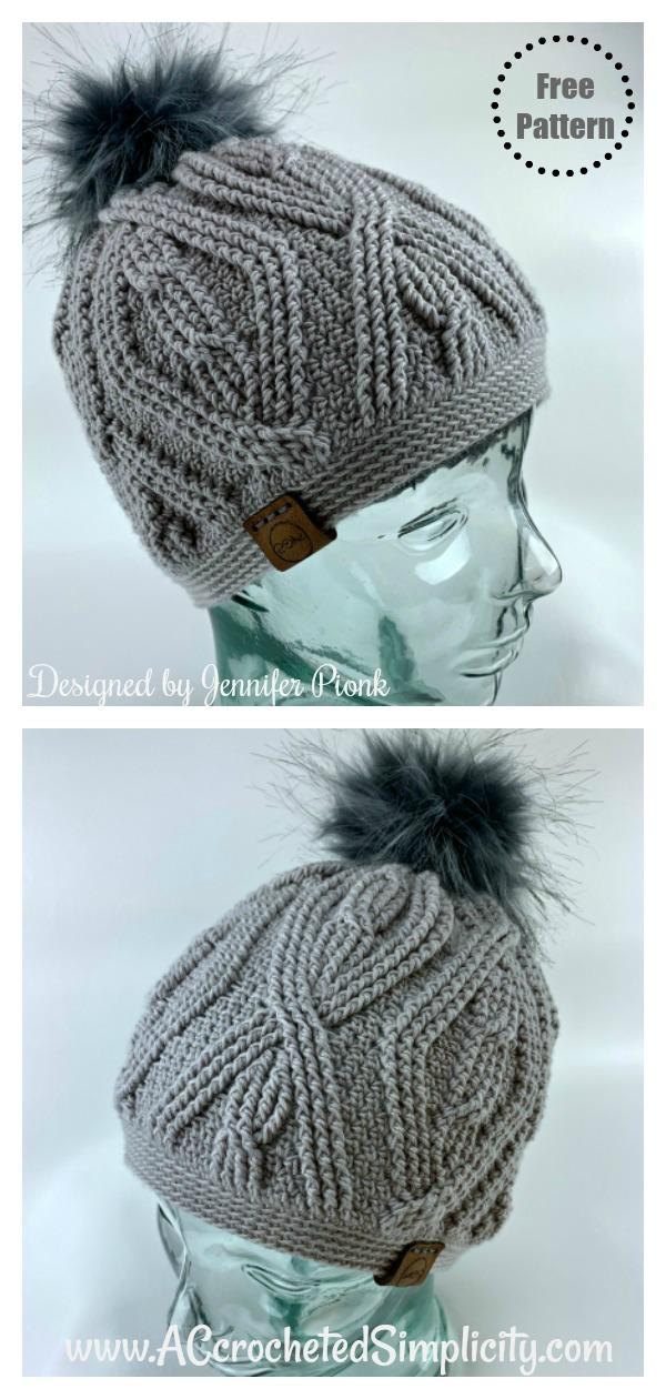 Diamonds & Twists Cabled Beanie Hat Free Crochet Pattern