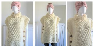 Faux Cable Poncho Free Crochet Pattern