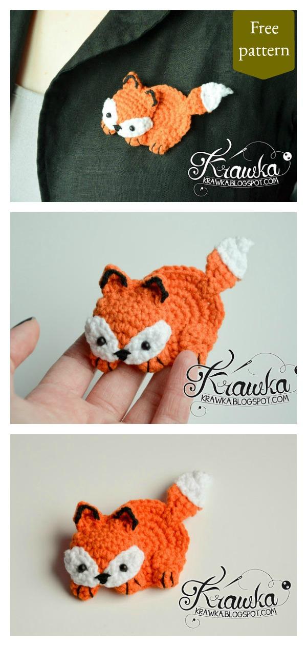 Fox Brooch Free Crochet Pattern