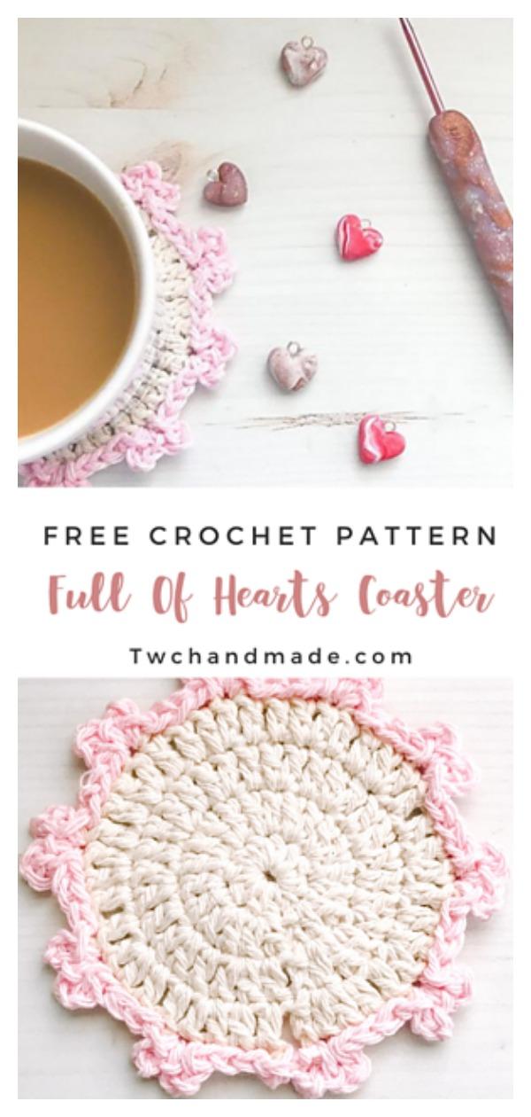 Full Of Hearts Coaster Free Crochet Pattern