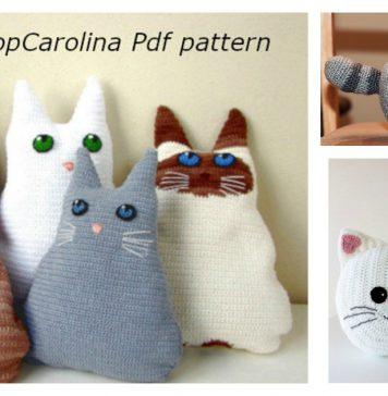 Fun Animal Cat Pillow Free Crochet Pattern and Paid