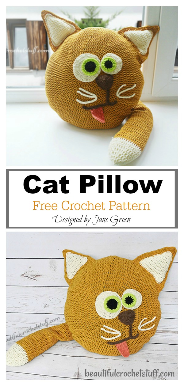 Fun Animal Cat Pillow Free Crochet Pattern