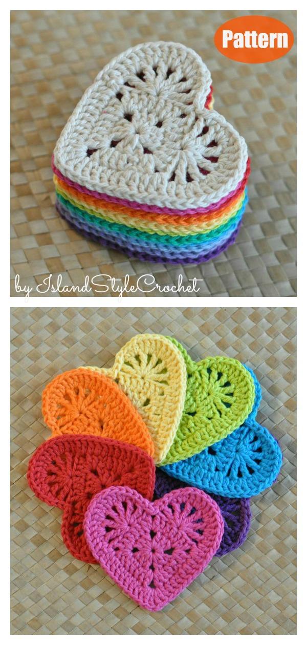 Granny Heart Coaster Crochet Pattern