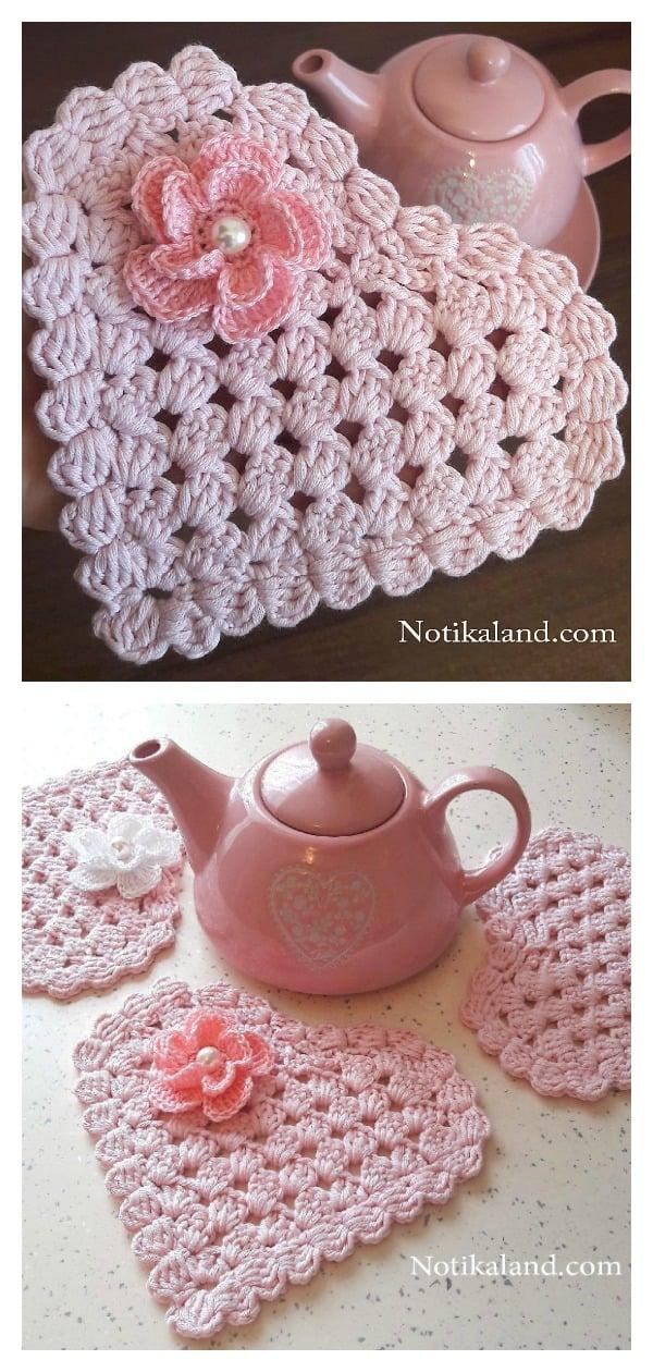 Granny Stitch Heart Coaster Free Crochet Pattern
