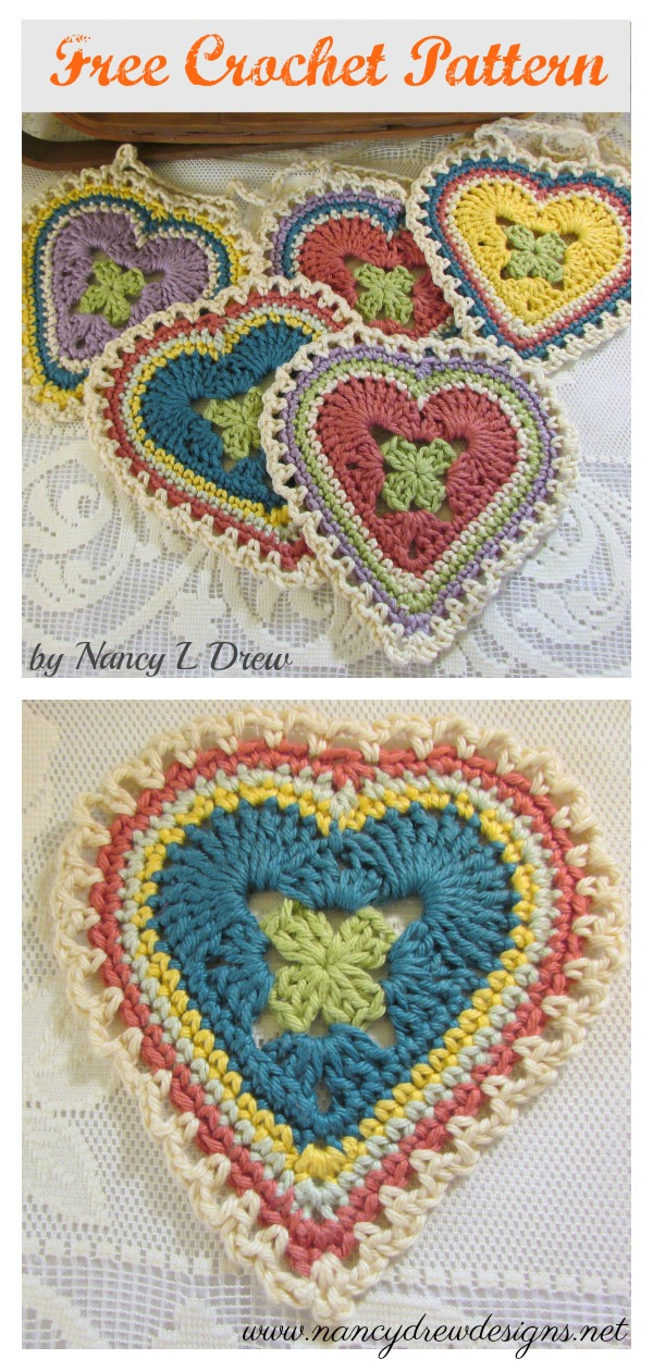 Granny Sweet Heart Coaster Free Crochet Pattern