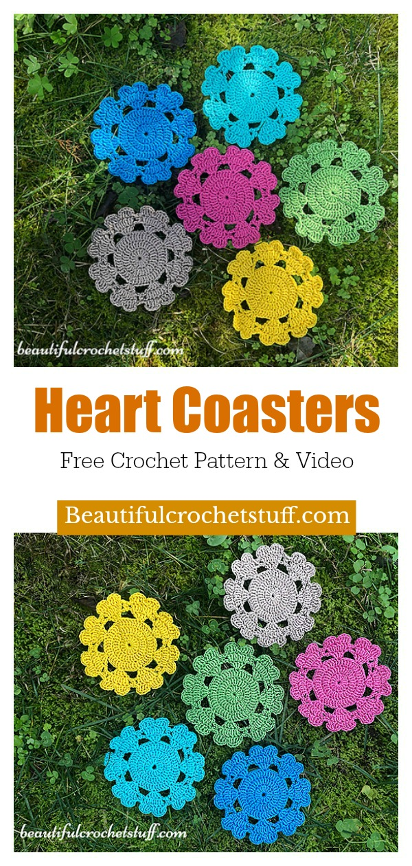 Heart Coaster Free Crochet Pattern and Video Tutorial