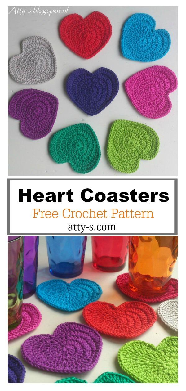 Heart Coaster Free Crochet Pattern