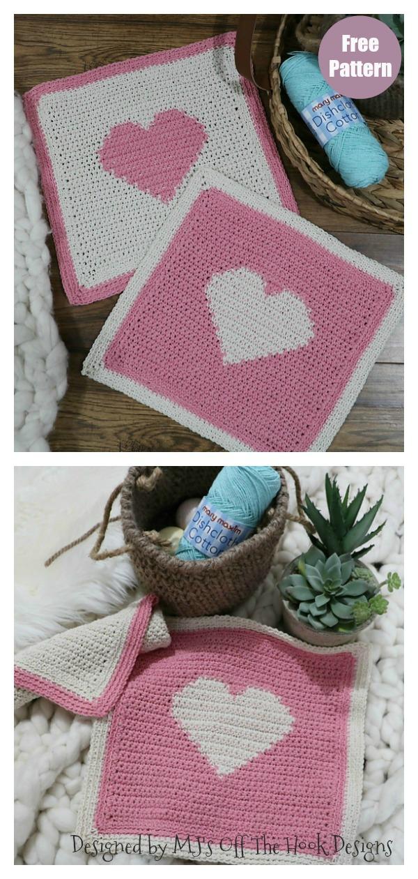 Heart Dishcloth or Spa Cloth Free Crochet Pattern