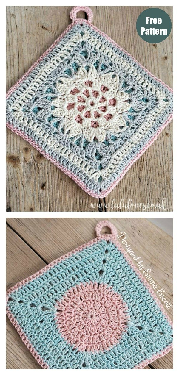 Hint of Spring Double Sided Potholder Free Crochet Pattern