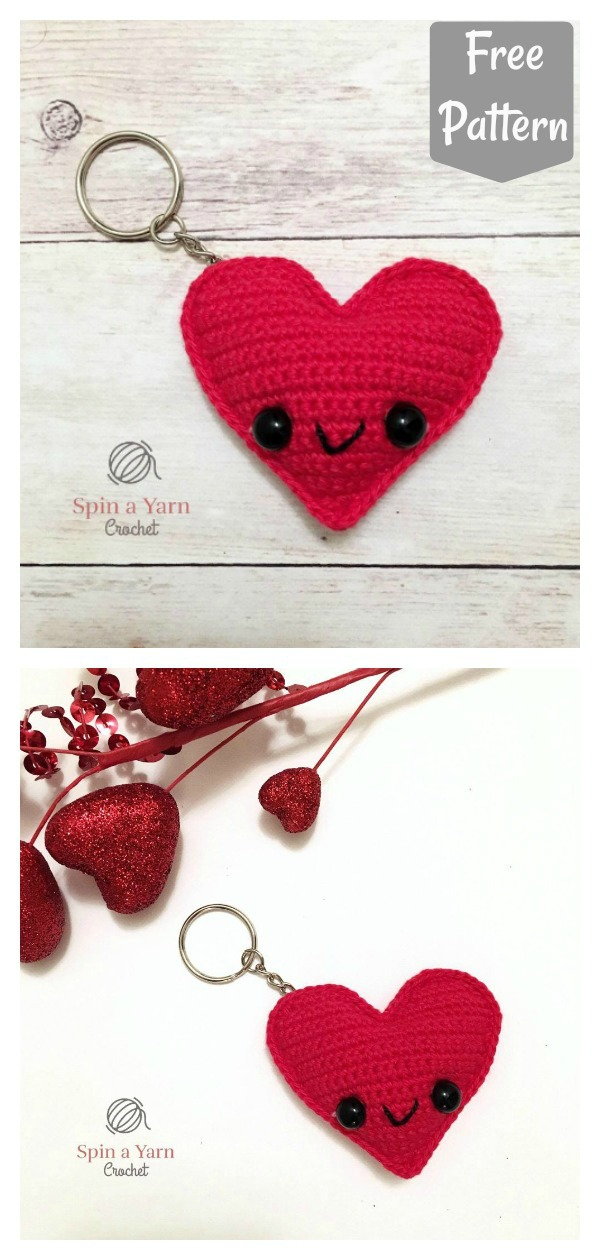 Kawaii Heart Keychain Free Crochet Pattern
