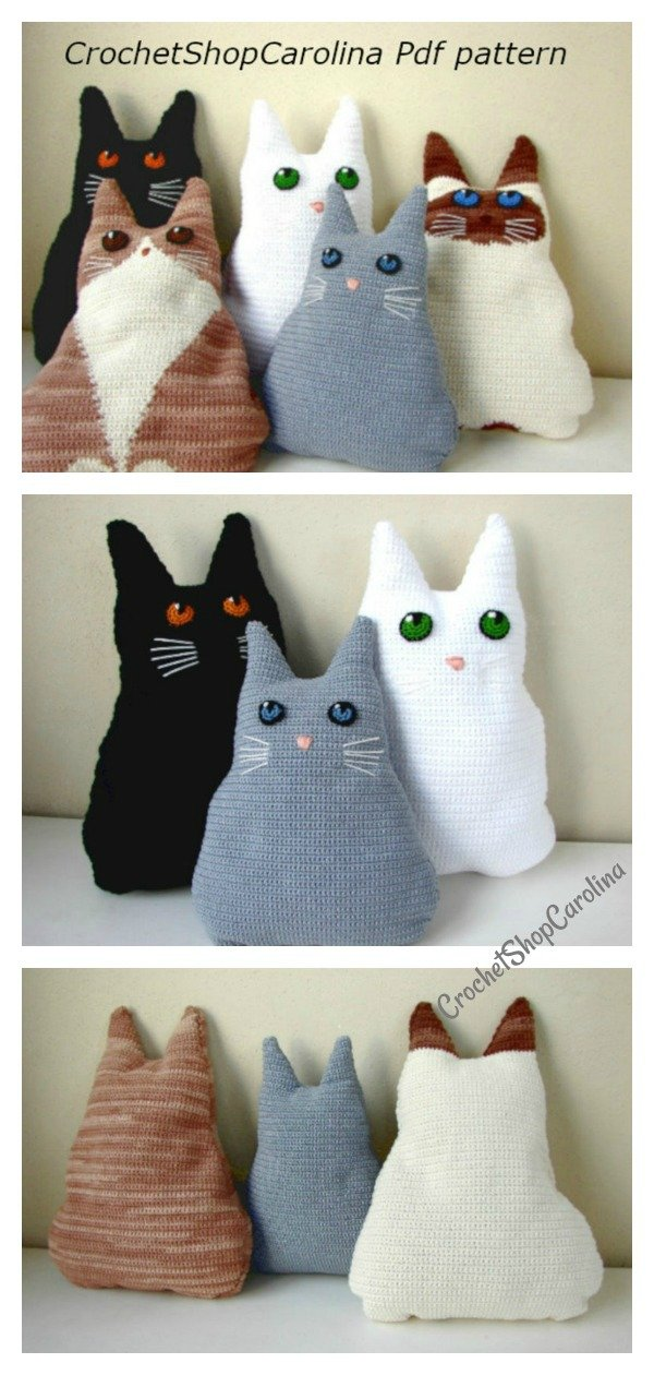 Crochet PATTERN No 1910 Big cat pillow by Krawka | Cat pillow ... | 1260x600