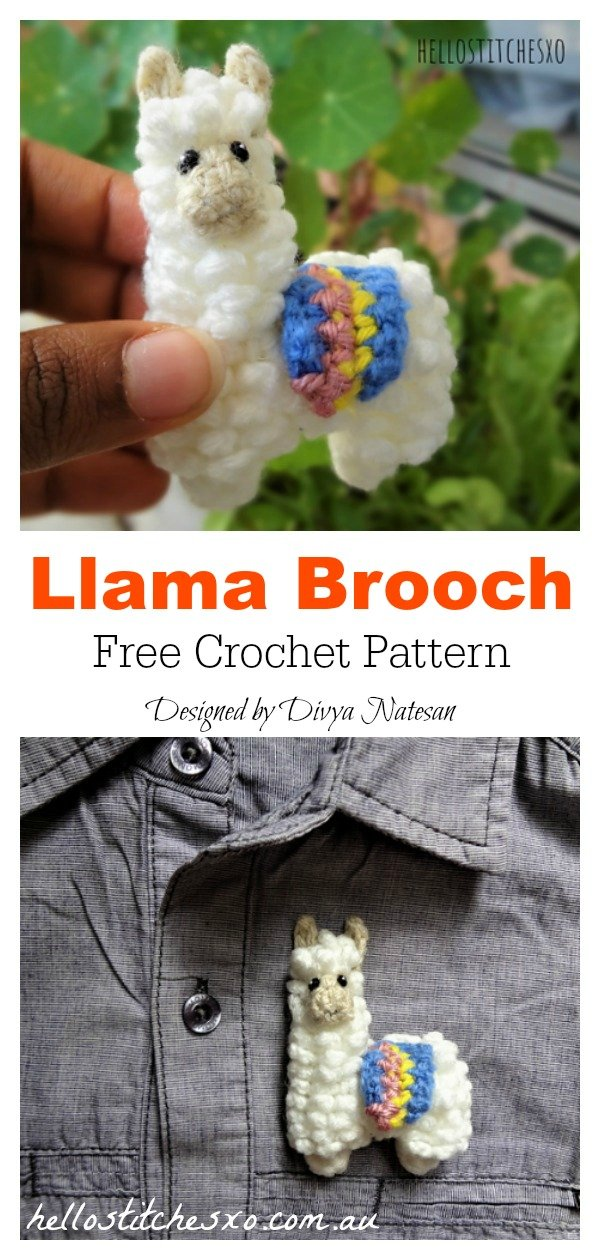 Llama Brooch Free Crochet Pattern