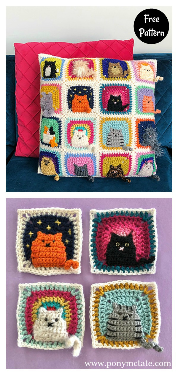 Crochet cat toy pillows set Black and White cat stuffed cat pillow ... | 1260x600