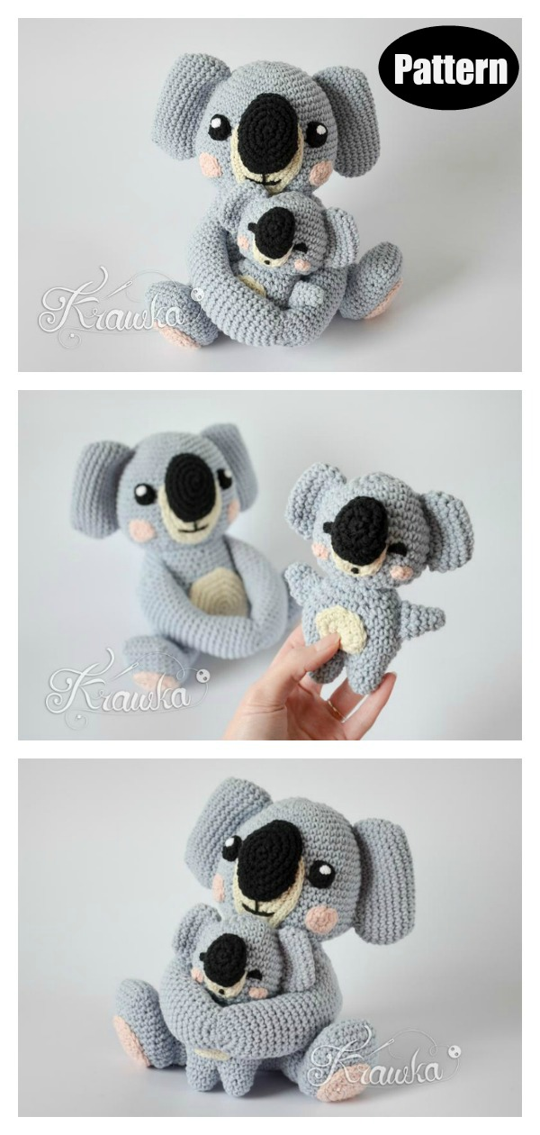Mommy with Baby Koala Amigurumi Crochet Pattern