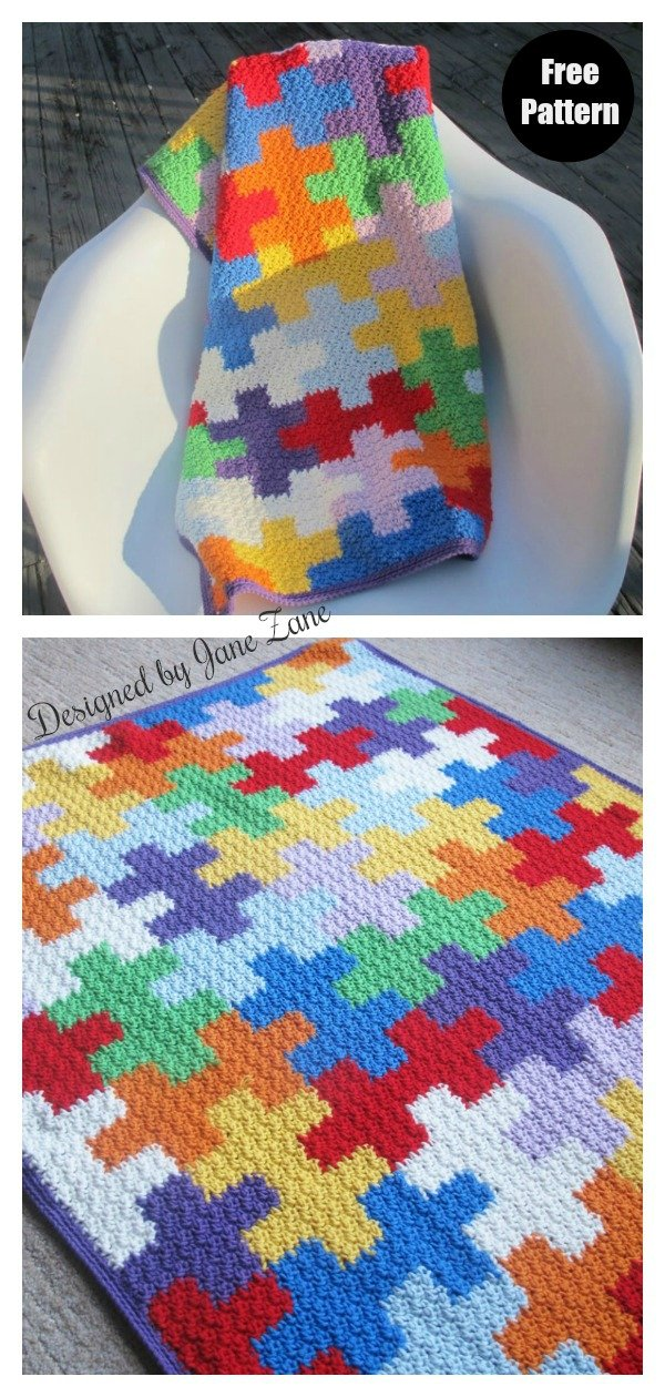 Puzzles Blanket Free Crochet Pattern