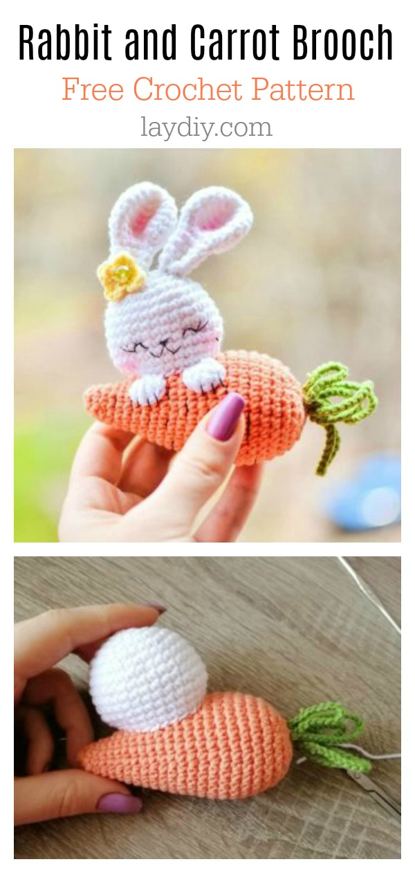 Rabbit and Carrot Brooch Free Crochet Pattern