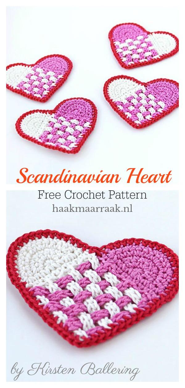 Scandinavian Heart Coaster Free Crochet Pattern