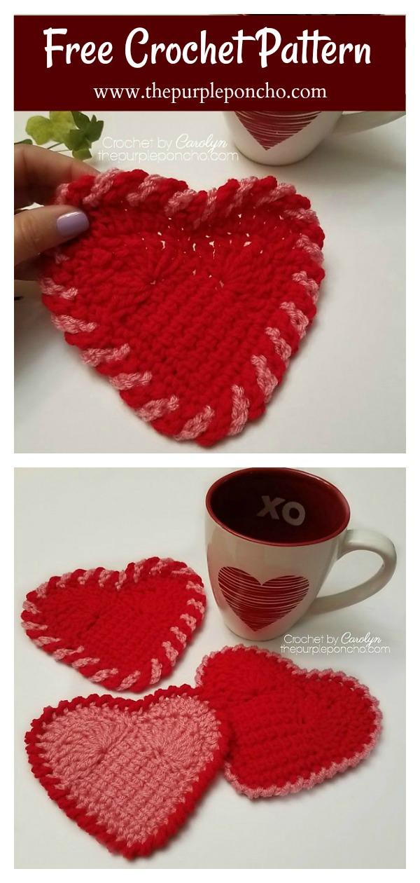 Sweet Heart Coasters Free Crochet Pattern