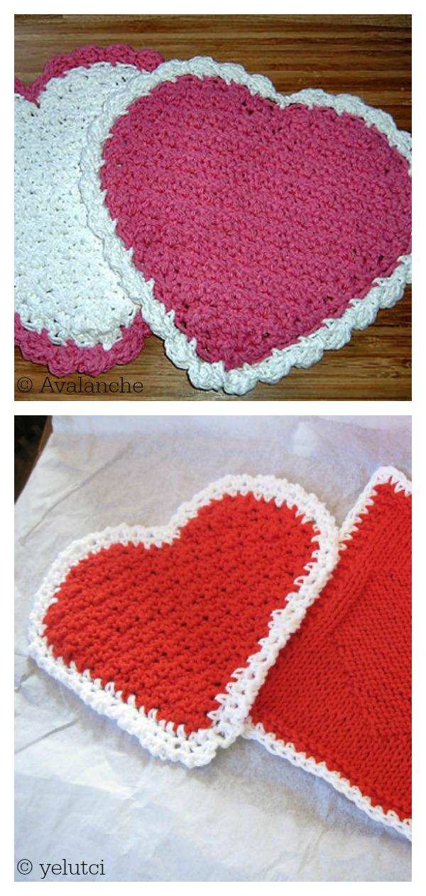 Textured Heart Kitchen Set Free Crochet Pattern