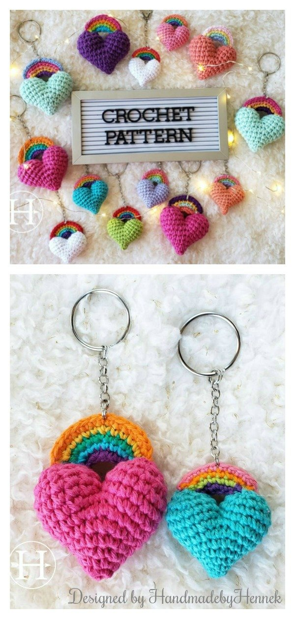 The Heart & Bow Keychain Crochet Pattern