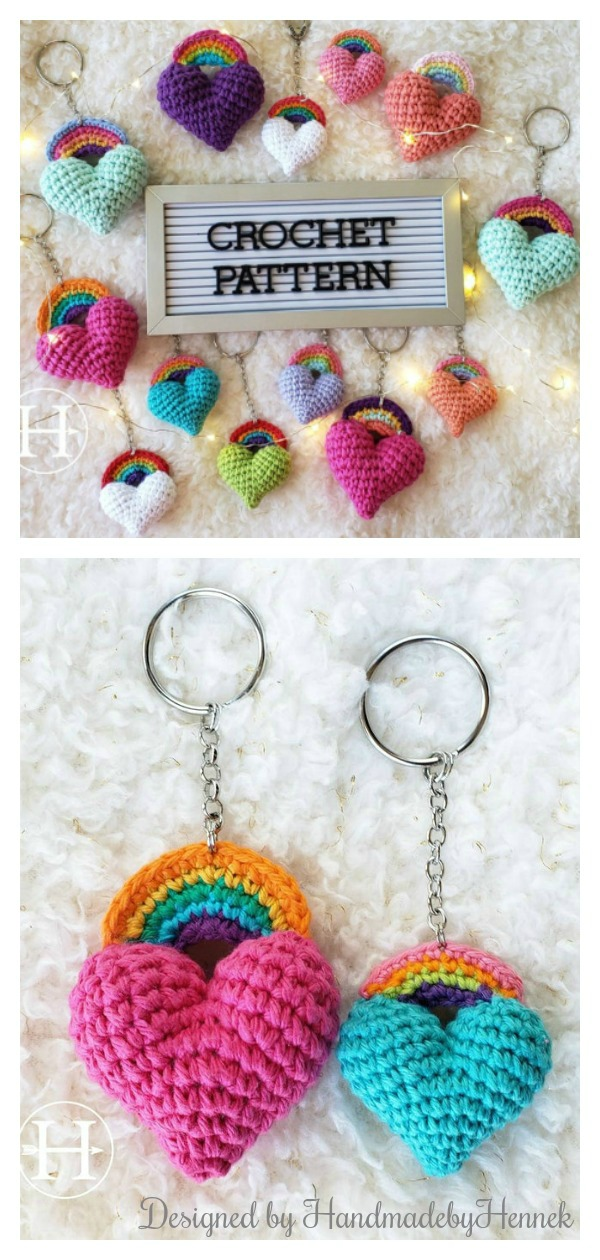 The Heart & Bow Keychain Crochet Pattern