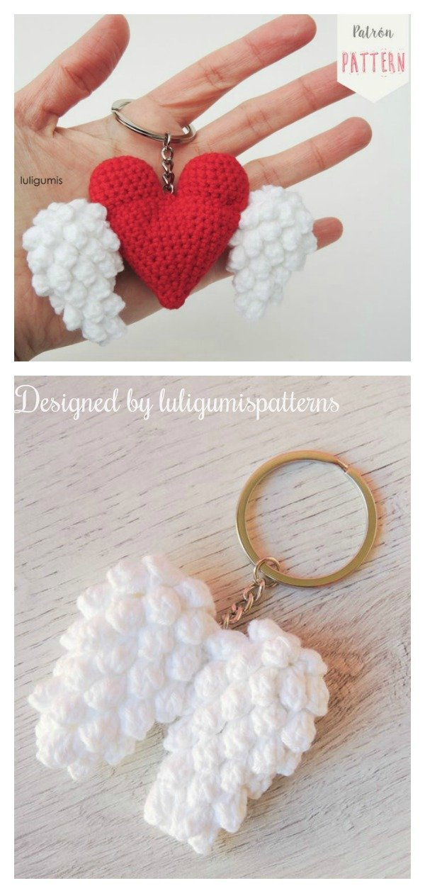 The Heart & Wings Keychain Crochet Pattern