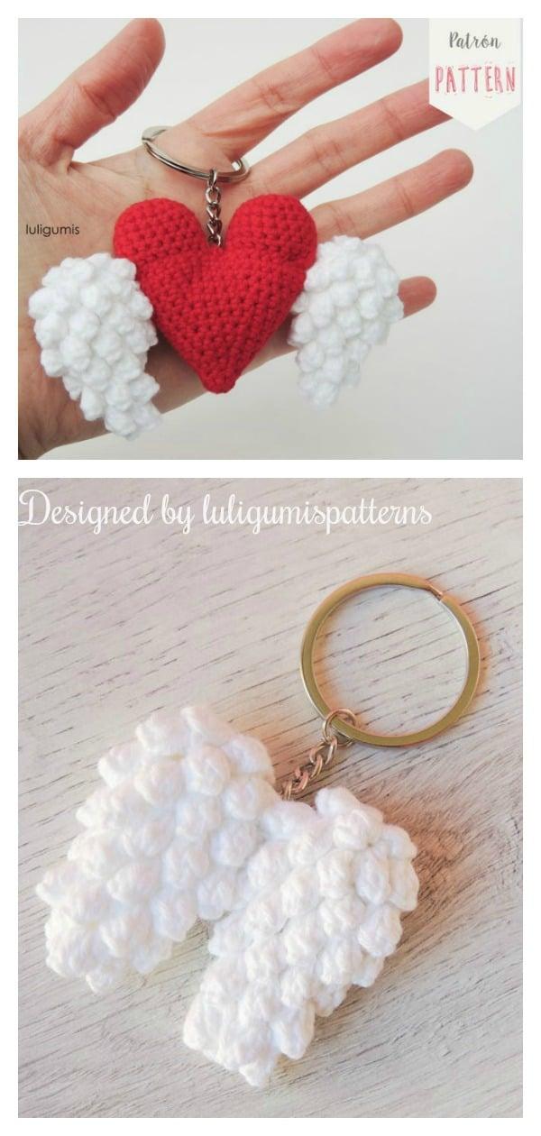 The Heart & Wings Keychain Crochet Pattern