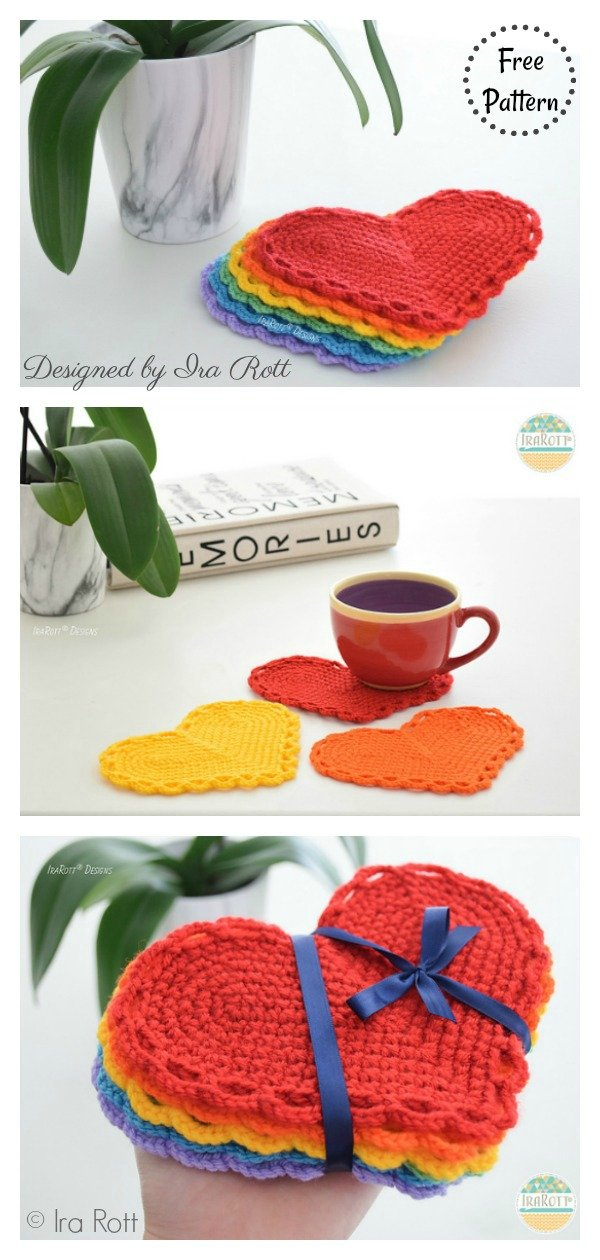 The Hearts Of Hope Coasters Free Crochet Pattern
