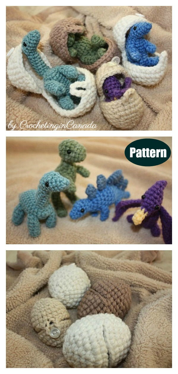 Amigurumi Hatching Dinosaur Eggs Crochet Pattern