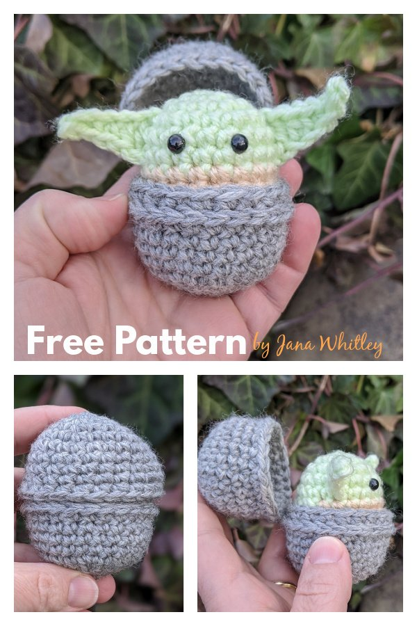 Baby Yoda and Bassinet Toy Free Knitting Pattern