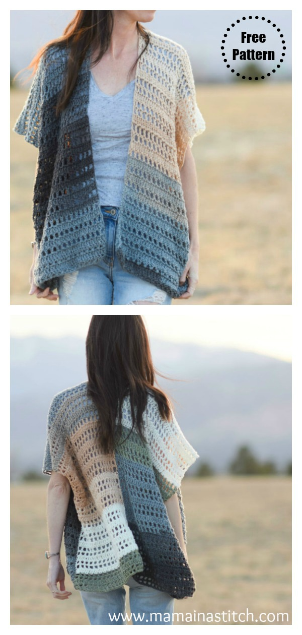 Barcelona Summer Kimono Cardigan Free Crochet pattern