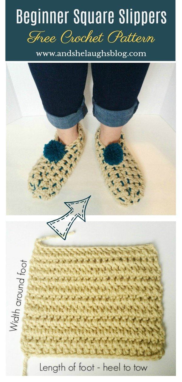 Beginner Square Slippers Free Crochet Pattern