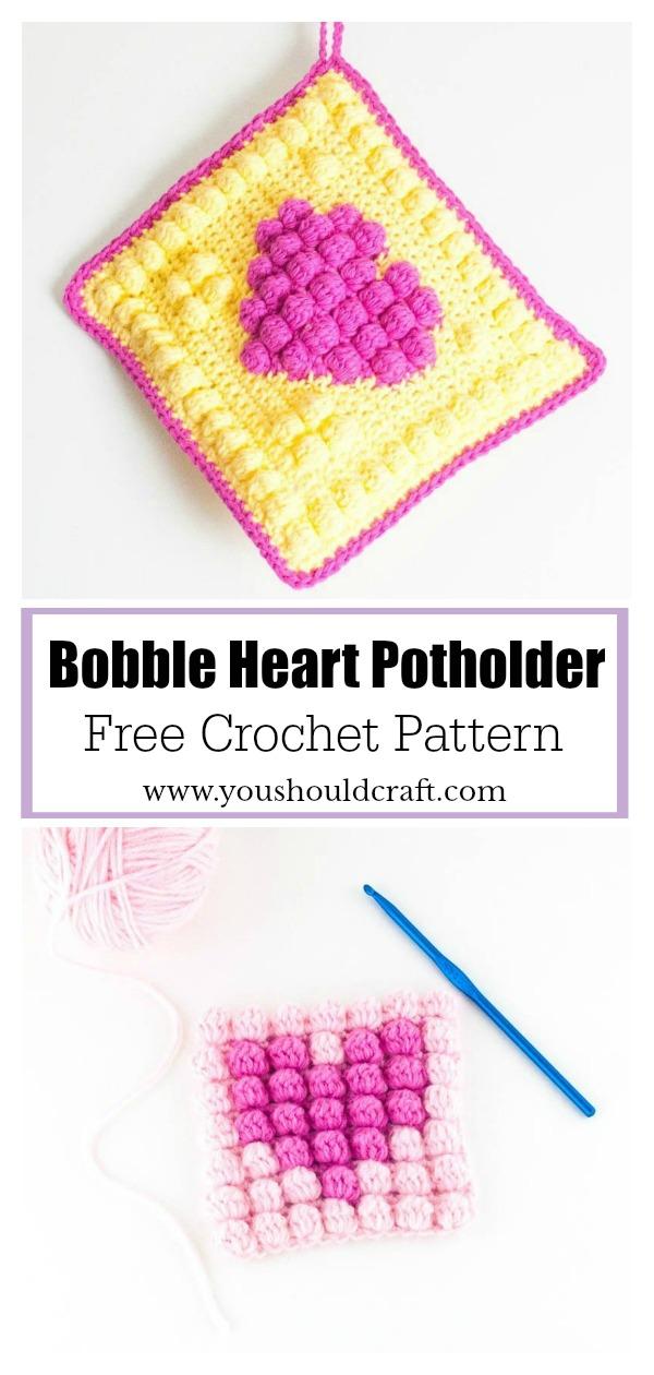 Bobble Heart Potholder Free Crochet Pattern