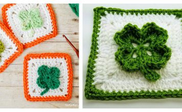 Clover Afghan Granny Square Free Crochet Pattern